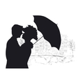 Happy young lovers couple kissing in Amsterdam vector image