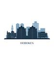 hoboken skyline monochrome silhouette vector image vector image