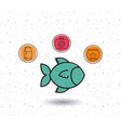 isolated fish and pet icon set design vector image