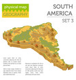 isometric 3d south america physical map elements vector image