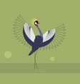 mating display crowned crane vector image vector image