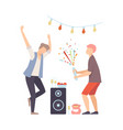 men on party dancing and exploding firecracker vector image