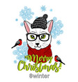 merry christmas card cover vector image