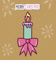 merry christmas celebration candle flame gift bow vector image vector image