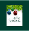 merry christmas typography with hanging ball xmas vector image