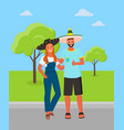 mexican man and woman wearing sombrero hat in park vector image vector image