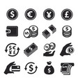money icons set hand with coins credit card vector image