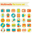 Multimedia flat icons set vector image
