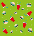 pattern soda glasses and burgers vector image vector image