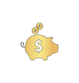 Piggy bank computer symbol vector image vector image
