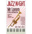 poster jazz festival trumpet 2 vector image vector image