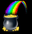 pot of gold and rainbow vector image vector image