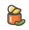 potato chips cucumber flavor icon cartoon vector image vector image