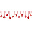 red christmas balls hanging background vector image