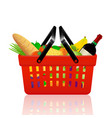 red shopping basket with groceries vector image vector image