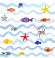 Sea and fish background with cute design vector image vector image