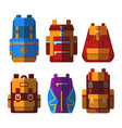 set of isolated sport or school bag or rucksack vector image vector image