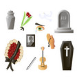 set of items used at the funeral items that are vector image