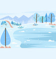 snowy fir-tree and mountain winter view vector image