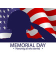 soldier silhouette saluting usa flag vector image vector image