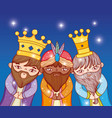 three kings wearing crown with stars to epiphany vector image