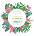 tropical wedding invitation with round frame vector image vector image