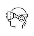 virtual reality glasses on head - line design vector image