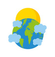 world planet earth with clouds and sun vector image vector image