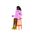 young african american woman sitting on bar chair vector image