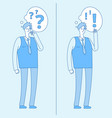 young confused man thinking student with question vector image vector image