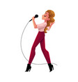 young pretty woman singing into microphone vector image vector image
