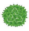 recycling symbol on a background of green leaves vector image
