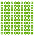 100 programmer icons hexagon green vector image vector image