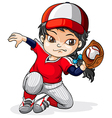A female Asian baseball player vector image vector image