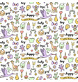 baby doodle and lettering seamless pattern vector image vector image