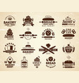 bakery labels pastry and cupcakes cafe icons vector image vector image