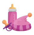 bamilk bottle with hat and pacifier vector image vector image