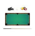 billiard balls in rack cue chalk and pool glove vector image vector image