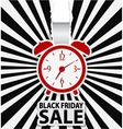 Black friday sale design with alarm clock vector image vector image