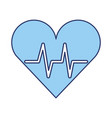 blue heart beat pulse vector image vector image