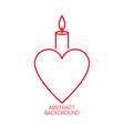 burning candle with a heart vector image