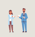 businesspeople couple drinking cappuccino during vector image vector image