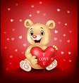 cartoon bear holding red heart balloons vector image