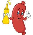 cartoon sausage holding mustard sauce vector image vector image