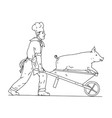 chef with wheelbarrow and pig drawing black and vector image vector image