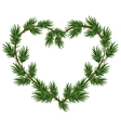 Christmas heart frame spruce branches Template vector image vector image