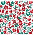 christmas seamless pattern of icons vector image vector image