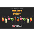 cocktail drinks realistic banner night vector image vector image