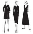 fashion models sketch cartoon girl dress vector image vector image
