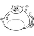 fat cat cartoon character coloring book vector image